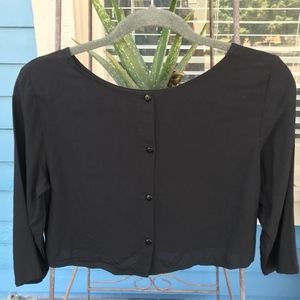 American Apparel Soft Button Back Crop top Blouse